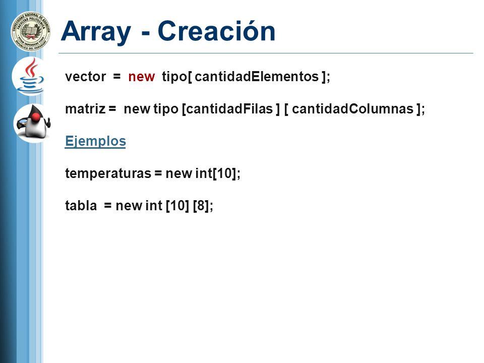 Array - Creación vector = new tipo[ cantidadElementos ];